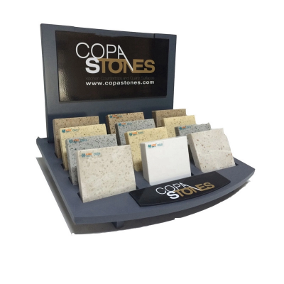 stone wood table display